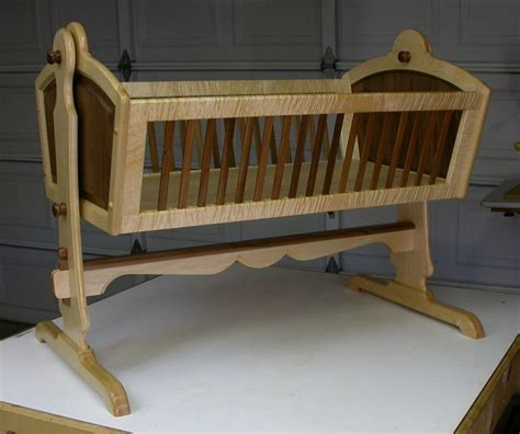 maple walnut heirloom baby cradle  dewoodwork