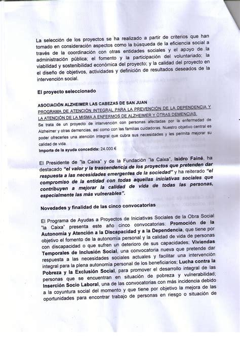 Nota De Prensa Juan Bosch Federacion Provincial Alzheimer Sevilla