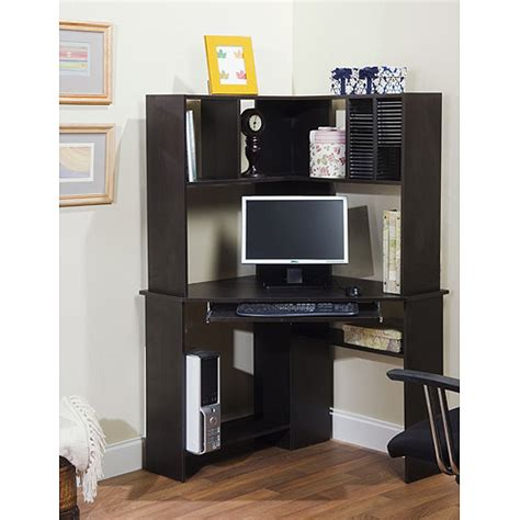 corner computer desk and hutch black oak walmart com