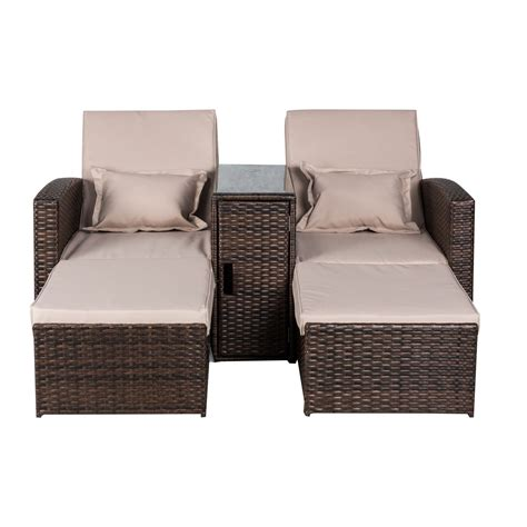 rattan chaise lounge outdoor outsunny 2 person outdoor patio rattan wicker cushioned