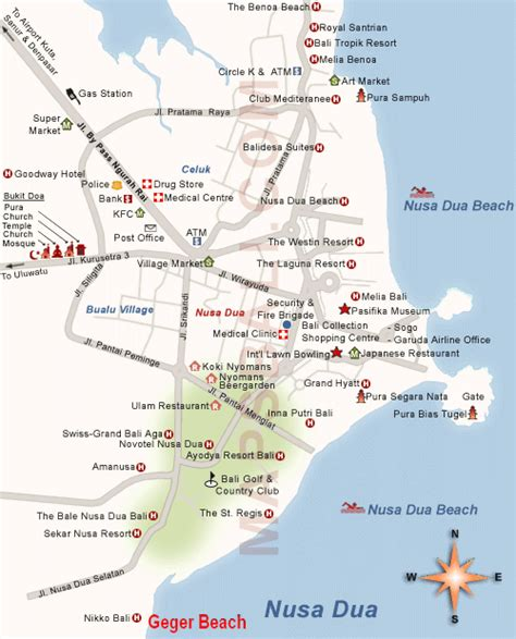 location map  geger beach nusa dua bali island bali