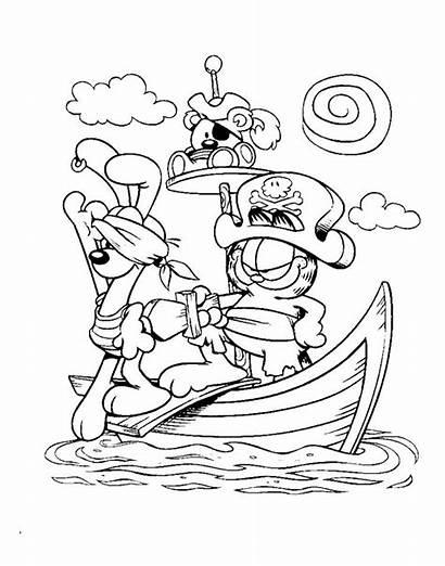 Coloring Garfield Pirate Cartoon Captain Disney Sheets