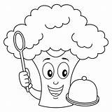 Broccoli Cartoon Spoon Coloring Tray Wooden Character Isolated Illustrations Vectors sketch template