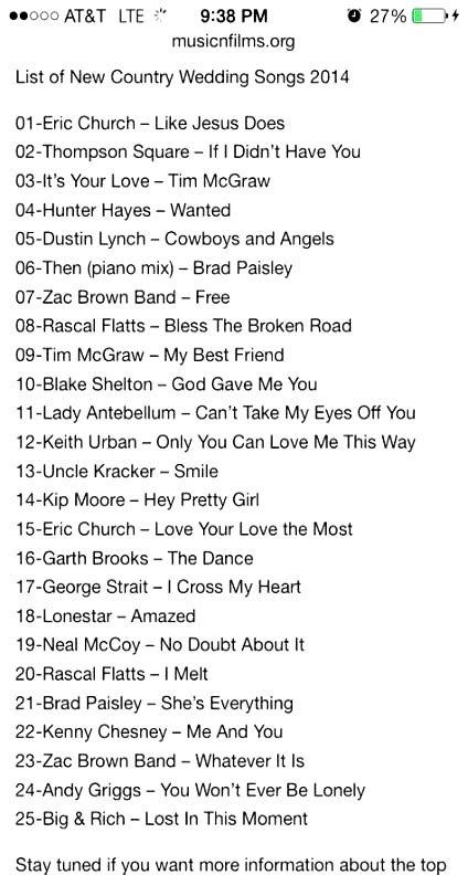 Here's 25 wedding aisle songs to walk down the aisle to. Wedding country songs to walk down aisle 20+ ideas in 2020 | Country wedding songs, Wedding ...