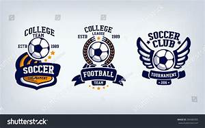 Soccer Club Emblem College League Logo เวกเตอร์สต็อก ...