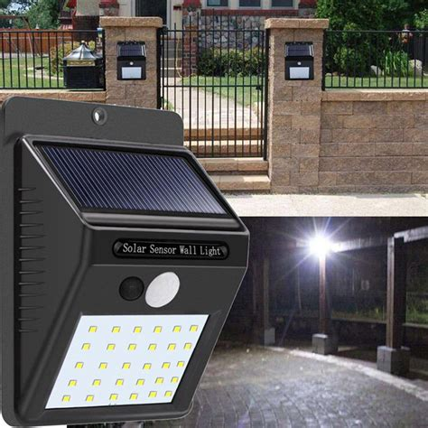 solar power 30 led pir motion sensor wall light waterproof