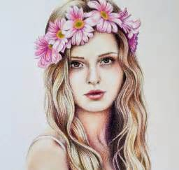 Realistic Drawing Girl with Flower