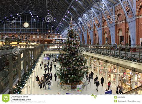 christmas tree  st pancras station london editorial
