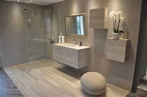 salle de bain douche italienne et baignoire With porte de douche coulissante avec meuble teck salle de bain leroy merlin