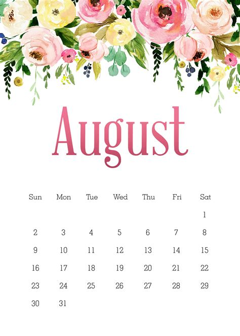printable   pretty floral calendar