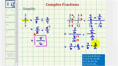 Ex 1 Simplify A Complex Fraction (no Variables) Youtube