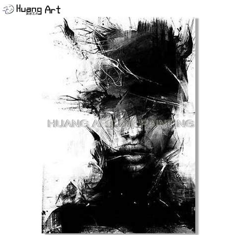 Abstract Black And White Portrait by Painted White And Black Figure Painting On Canvas