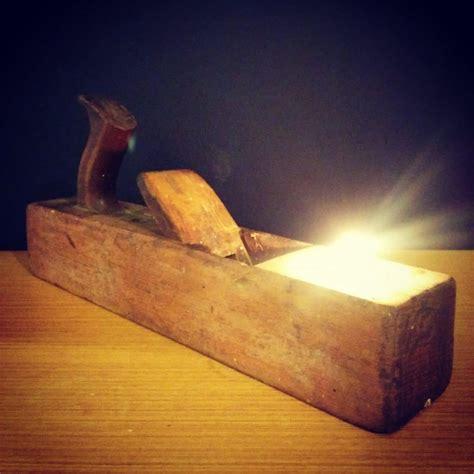 rustic vintage lamp  wooden plane tealight holder id