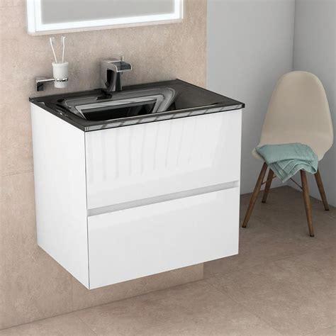 meuble salle de bain 61 cm blanc brillant vasque verre noir kyoto l