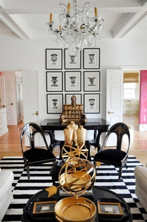 Black, White And Gold Color Scheme Interiors (24 Photos
