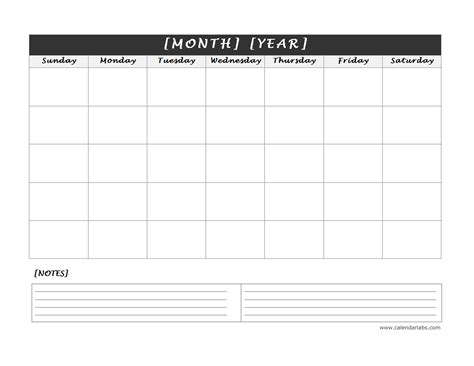 monthly blank calendar  notes spaces  printable