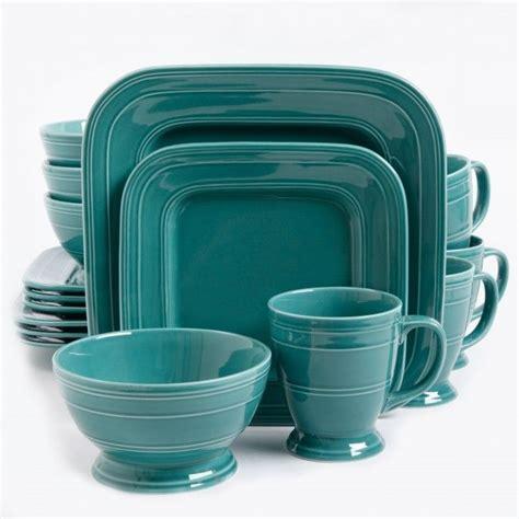 square turquoise dinnerware gibson elite barberware 16 piece square dinnerware set turquoise for the home pinterest