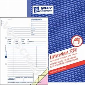 Lieferschein Inhalt : avery zweckform 1763 lieferschein mit preisspalte mit empfangsschein ~ Themetempest.com Abrechnung