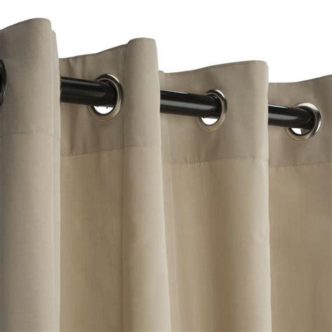 sunbrella canvas antique beige outdoor curtain with nickel