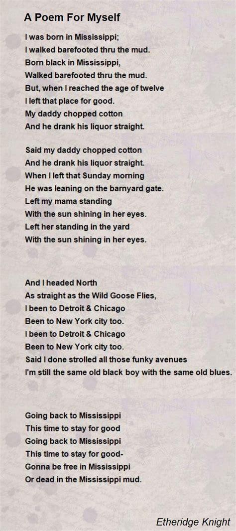 poems for a poem for myself poem by etheridge knight poem hunter