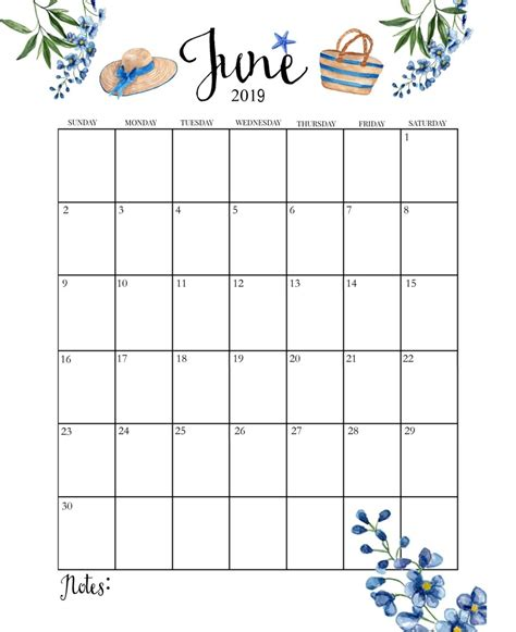 june calendar cute printable month calendar