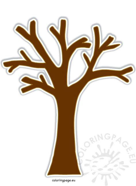 brown tree  leaves image coloring page