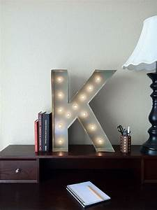 vintage inspired marquee light letter k With lighted letter k