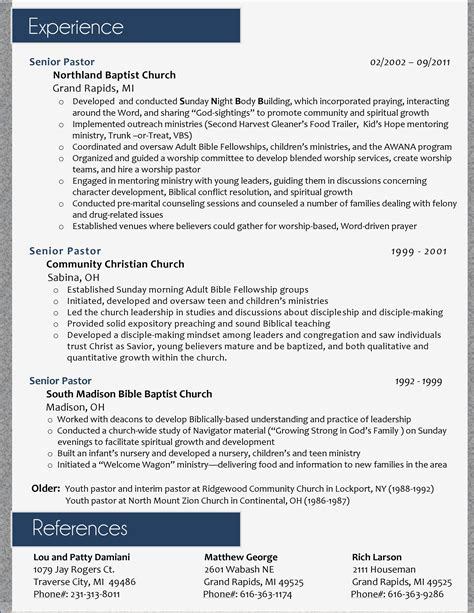Ministry Resume Template by My Resume Design For A Pastoral Position Page 2 I Ll Do