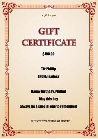 gift certificate  template     gift