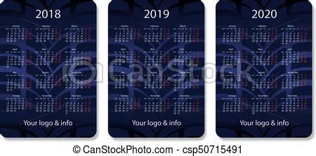vector pocket calendar set years blue eps