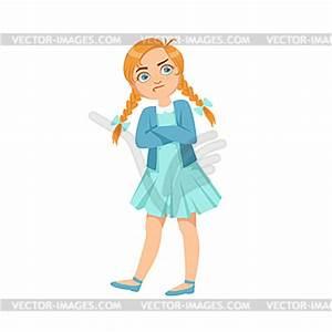 Stubborn Girl Teenage Bully Demonstrating - vector clipart