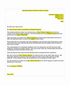 Letter Of Recommendation From Landlord 7 Tenant Reference Letter Templates Free Sample