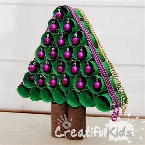 christmas tree made out of cardboard rolls from creatiful