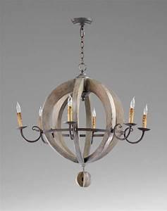 Wooden orb light chandelier by cyan design