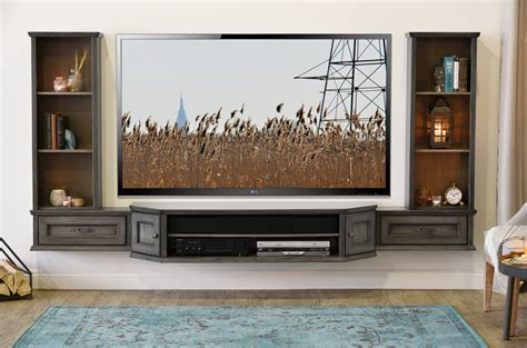 floating entertainment center wall mounted tv stand entertainment console vintage 3