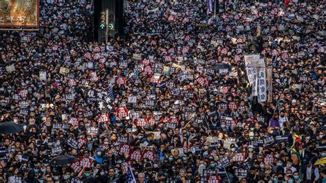 hong kong protests hundreds  thousands turn