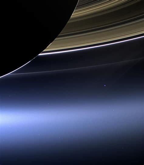 Earth Beams From Between Saturn Rings New Cassini