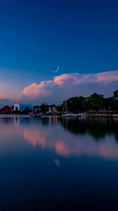 Moon Lake Scenery Wallpapers Sunset Iphone Phone