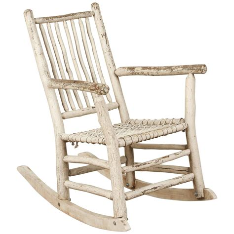 white painted rustic rocking chair for sale at 1stdibs