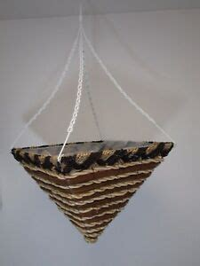 14 quot square wicker rattan striped brown hanging basket flower planter cone shape ebay