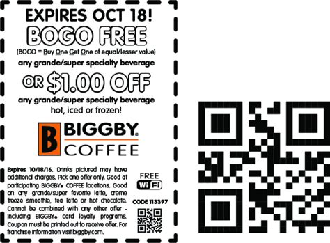 Biggby Coffee Coupons - Second drink free at Biggby Coffee
