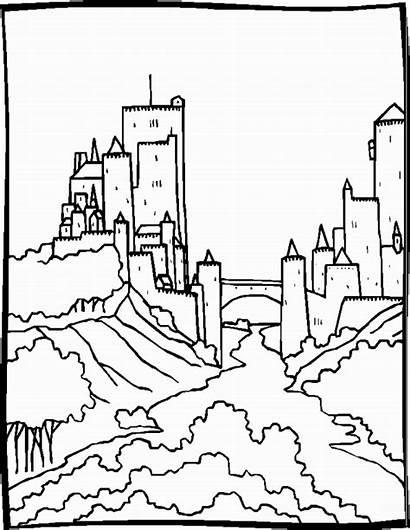 Coloring Pages Landscapes Landscape Castle Malvorlagen Animated