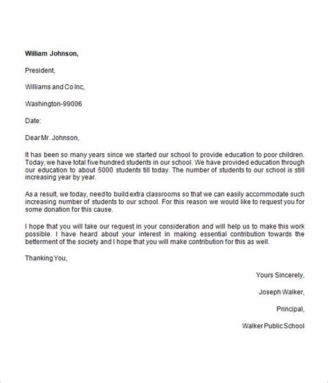 sample donation request letter  school