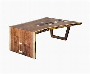 Buy a hand crafted live edge walnut waterfall coffee table for Live edge waterfall coffee table