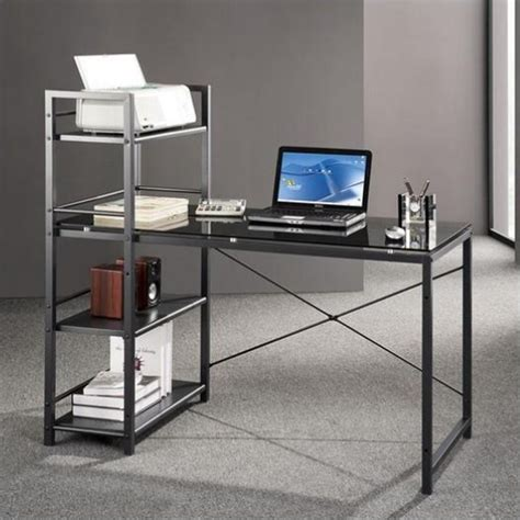 Tempered Glass Computer Desk Black by Tempered Glass Laptop Desk In Black And Smokey Grey Rta