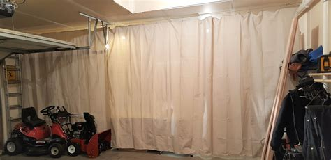 Garage Curtain For Dust Protection And Heat Retention Bathroom Light Fixtures Images Kids Idea Win Makeover 2014 Bars Brushed Nickel Small Mirrors With Lights Modern How To Install Fixture Track Lighting