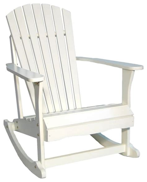coastal adirondack white finish solid wood porch rocker