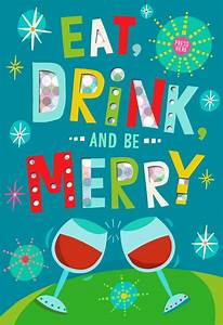 Eat Drink And Be Merry Musical Christmas Card