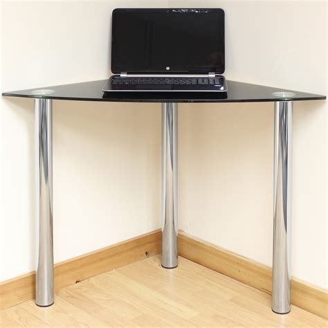 black glass corner computer pc laptop desk home office study table chrome legs ebay