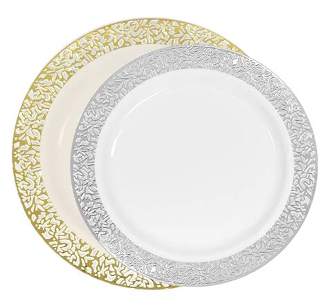 Luxury Lace Disposable Plastic Plates Ivorygold And